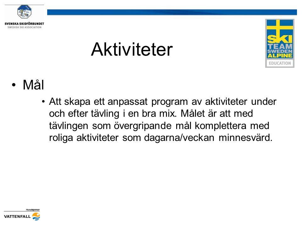 Aktiviteter Mål Att skapa ett anpassat program av aktiviteter under och efter tävling i en bra mix. Målet är att med tävlingen som övergripande mål ko