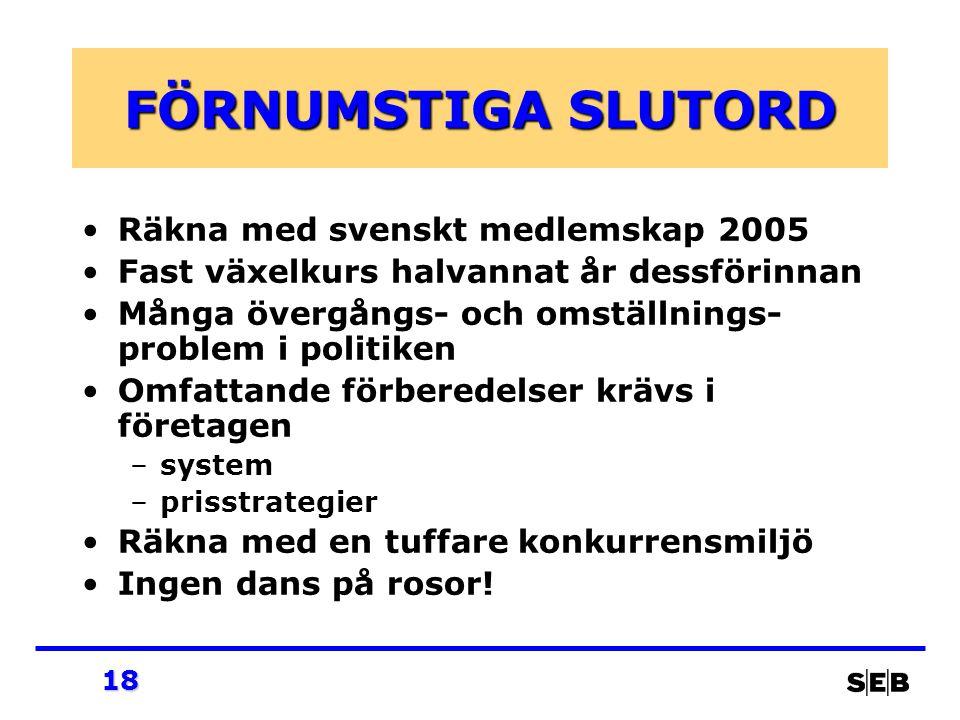 18 FÖRNUMSTIGA SLUTORD Räkna med svenskt medlemskap 2005 Fast växelkurs halvannat år dessförinnan Många övergångs- och omställnings- problem i politik