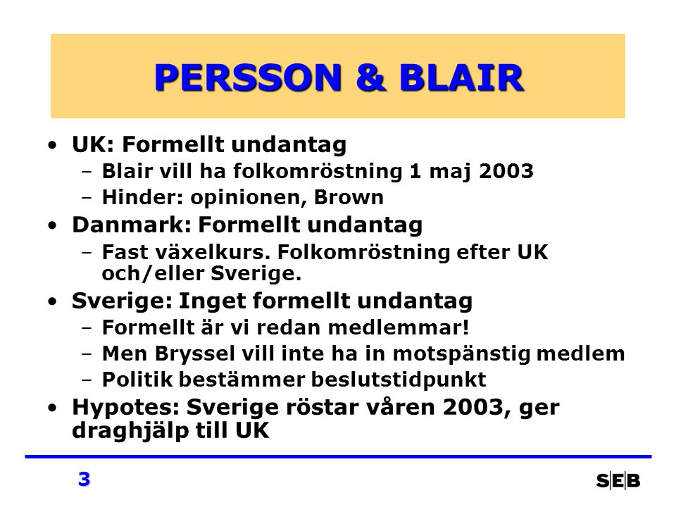3 PERSSON & BLAIR UK: Formellt undantag –Blair vill ha folkomröstning 1 maj 2003 –Hinder: opinionen, Brown Danmark: Formellt undantag –Fast växelkurs.
