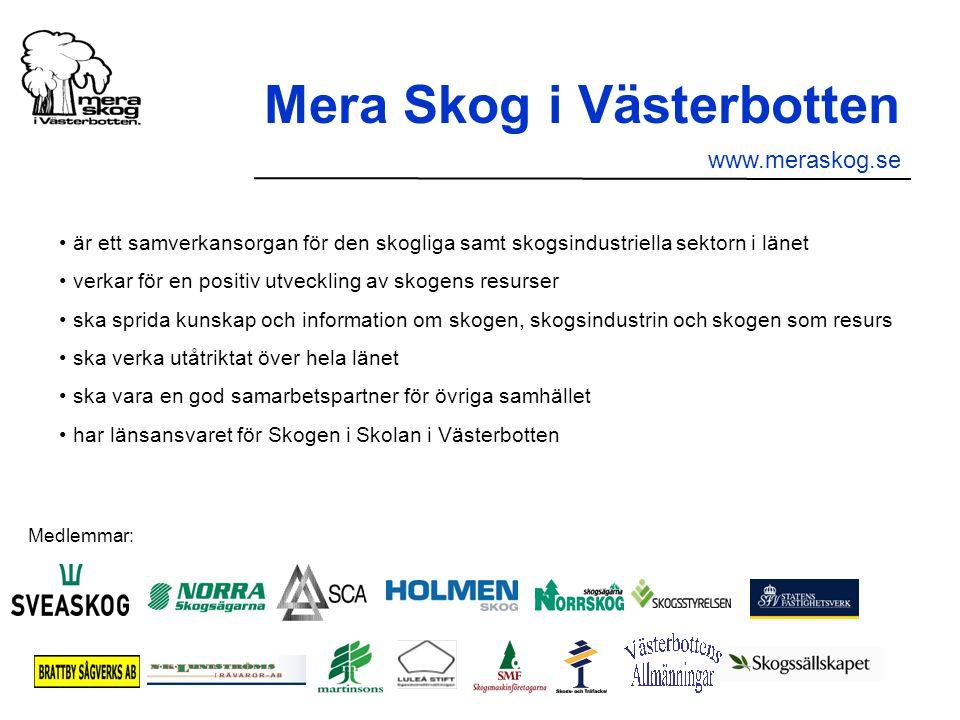 är ett samverkansorgan för den skogliga samt skogsindustriella sektorn i länet verkar för en positiv utveckling av skogens resurser ska sprida kunskap och information om skogen, skogsindustrin och skogen som resurs ska verka utåtriktat över hela länet ska vara en god samarbetspartner för övriga samhället har länsansvaret för Skogen i Skolan i Västerbotten Medlemmar: Mera Skog i Västerbotten www.meraskog.se