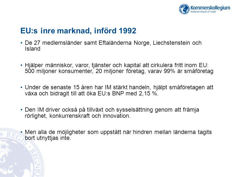 EU:s inre marknad, införd 1992 De 27 medlemsländer samt Eftaländerna Norge, Liechstenstein och Island Hjälper människor, varor, tjänster och kapital a