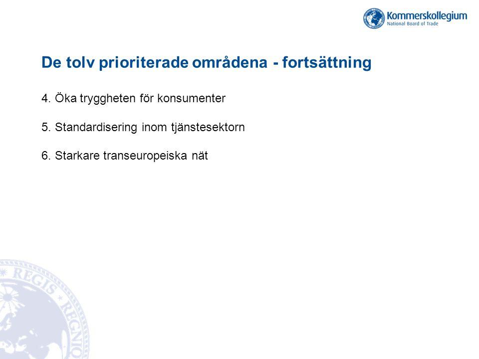 De tolv prioriterade områdena - fortsättning 4. Öka tryggheten för konsumenter 5. Standardisering inom tjänstesektorn 6. Starkare transeuropeiska nät