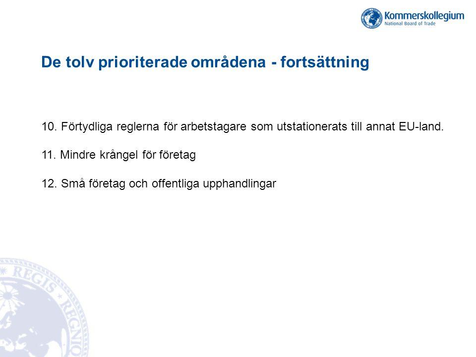 De tolv prioriterade områdena - fortsättning 10. Förtydliga reglerna för arbetstagare som utstationerats till annat EU-land. 11. Mindre krångel för fö