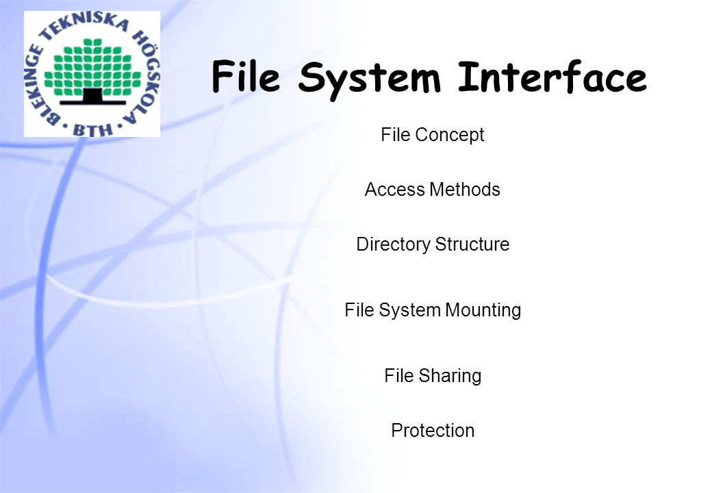 File System Interface File Concept Access Methods Directory Structure File System Mounting File Sharing Protection