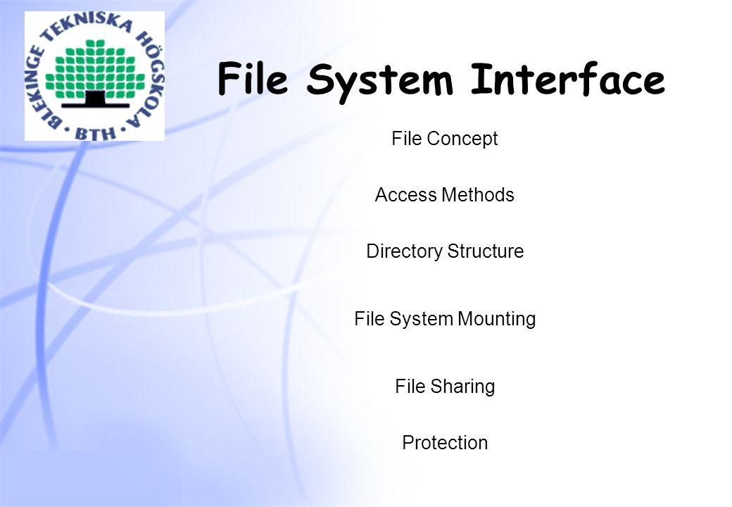 11 Några typiska operationer på filer  CREATE - skapar en tom fil  DELETE - raderar filen, frigör diskutrymme  OPEN - hämtar information om filen från disk  CLOSE - lagrar information om filen på disk  READ/WRITE - läser/skriver data från/på filen  SEEK - för indexerade filer, positionera i filen  RENAME - ändra namn på filen  SET ATTRIBUTES - ändra attribut, t.ex.
