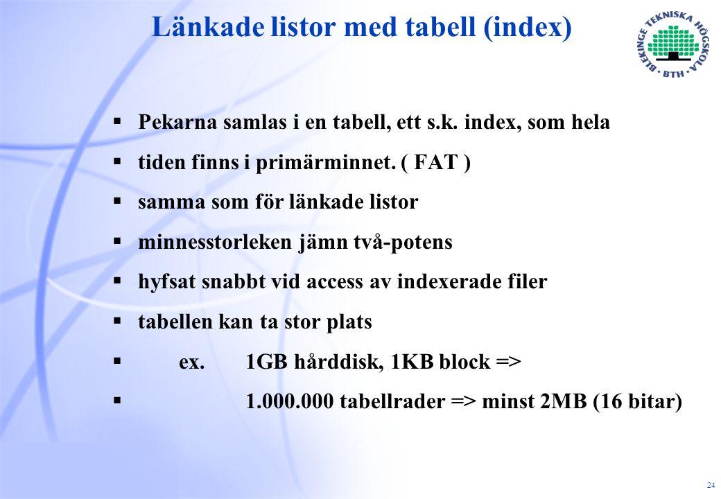24 Länkade listor med tabell (index)  Pekarna samlas i en tabell, ett s.k.