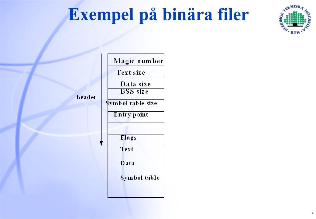 25 Index-noder (i-noder)  Index-noder (i-noder)  Till varje fil finns en liten tabell (index-nod) vilken  innehåller:* filens attribut  * pekare till filens block  Pekarna kan lagras i flera nivåer så att små filer  klarar sig med bara I-noden medan större filer  kräver två eller flera nivåer.