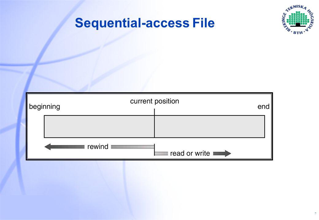 18 Path names I hierarkiska filsystem finns det två sätt att specificera filnamn:  absolut path name - beskriver filen i relation till rotkatalogen.