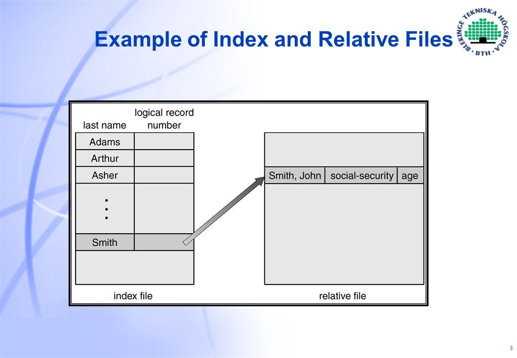 29 Två metoder för delning av filer 1.Lagra info i en separat datastruktur, t.ex.