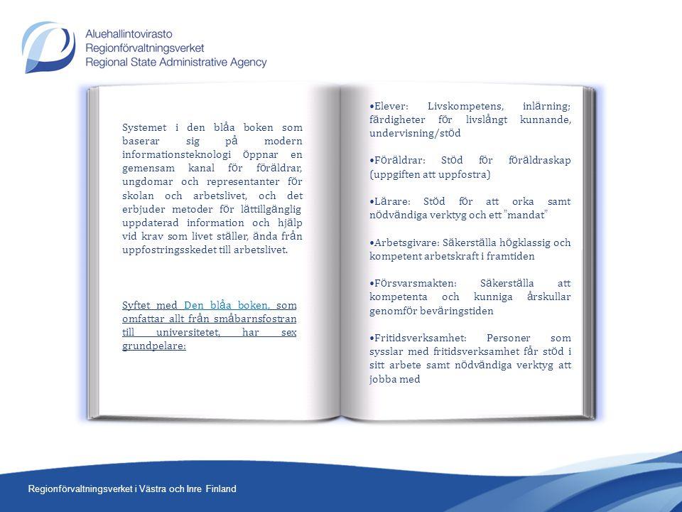 Regionförvaltningsverket i Västra och Inre Finland Systemet i den bl å a boken som baserar sig p å modern informationsteknologi ö ppnar en gemensam kanal f ö r f ö r ä ldrar, ungdomar och representanter f ö r skolan och arbetslivet, och det erbjuder metoder f ö r l ä ttillg ä nglig uppdaterad information och hj ä lp vid krav som livet st ä ller, ä nda fr å n uppfostringsskedet till arbetslivet.