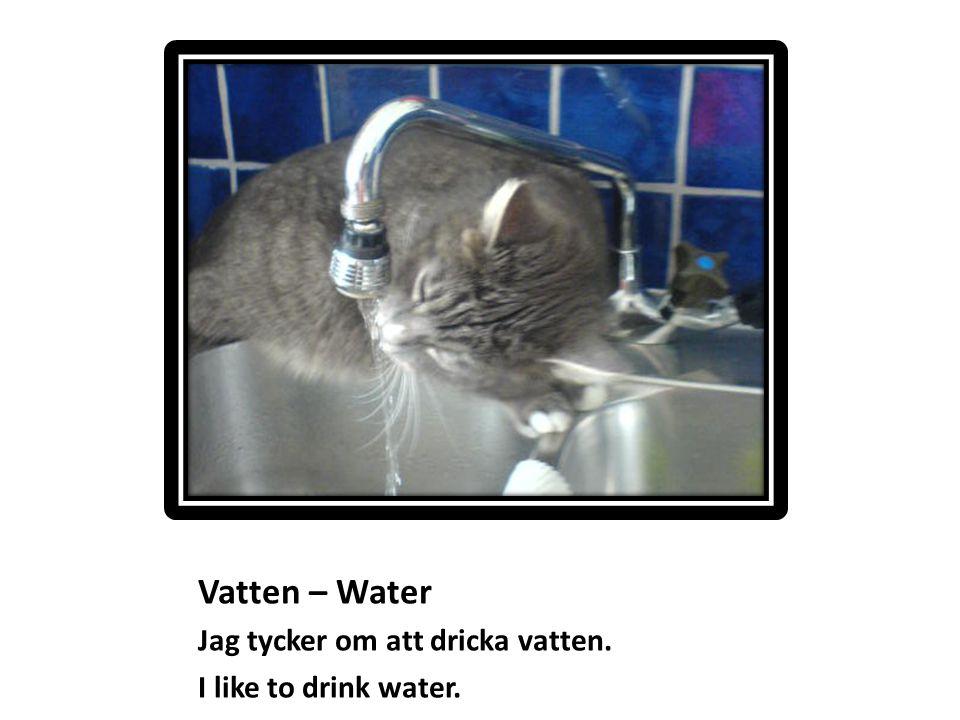 Vatten – Water Jag tycker om att dricka vatten. I like to drink water.