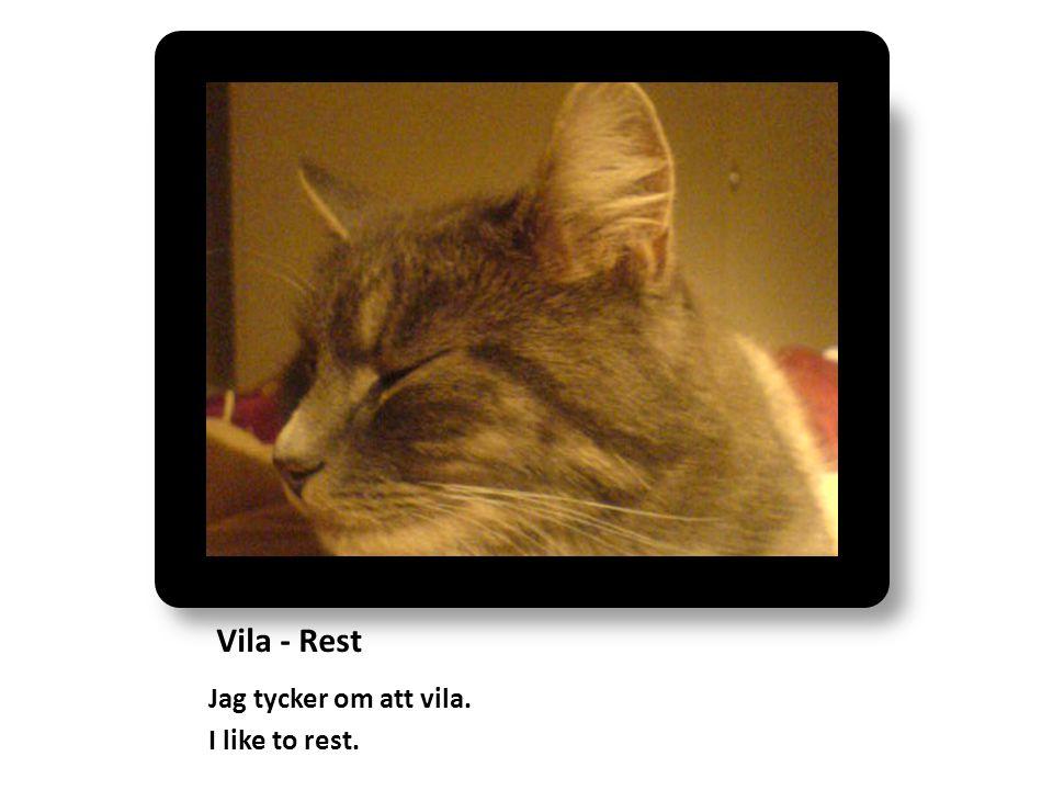 Vila - Rest Jag tycker om att vila. I like to rest.