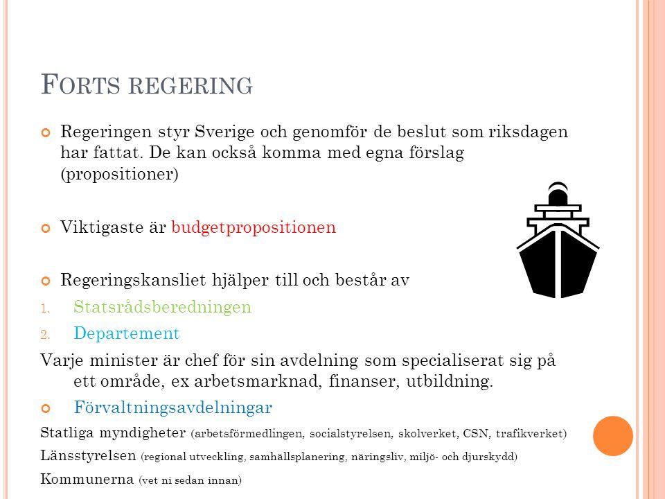 F ORTS REGERING Regeringen styr Sverige och genomför de beslut som riksdagen har fattat. De kan också komma med egna förslag (propositioner) Viktigast