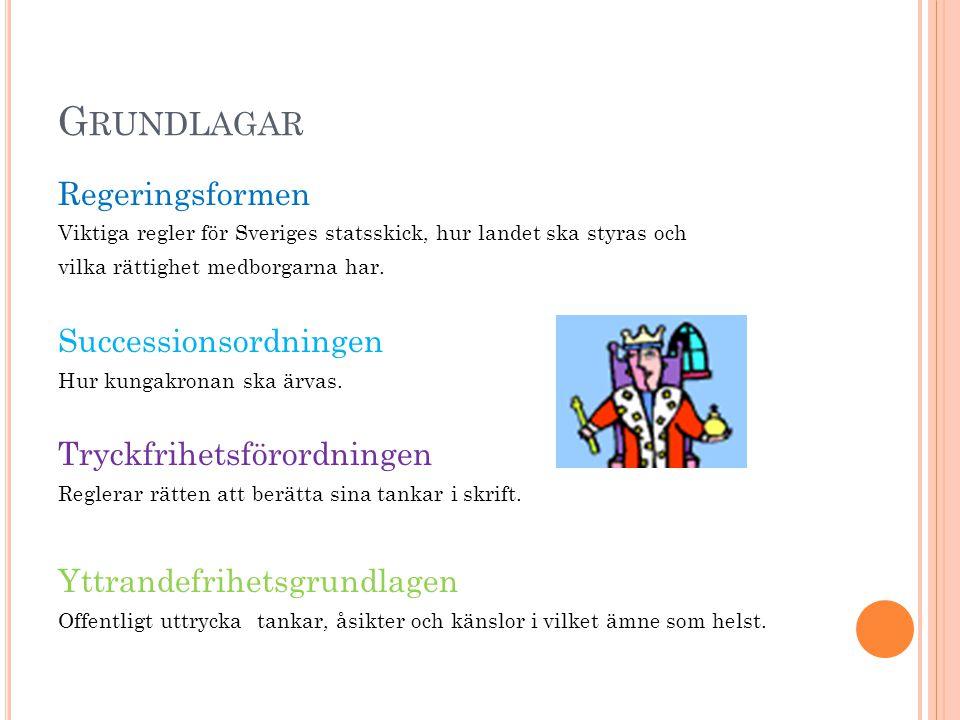 G RUNDLAGAR Regeringsformen Viktiga regler för Sveriges statsskick, hur landet ska styras och vilka rättighet medborgarna har.