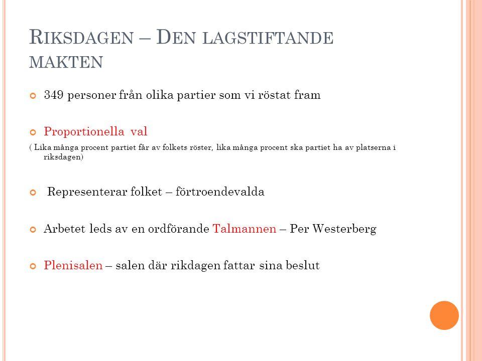 R IKSDAGEN – D EN LAGSTIFTANDE MAKTEN 349 personer från olika partier som vi röstat fram Proportionella val ( Lika många procent partiet får av folket
