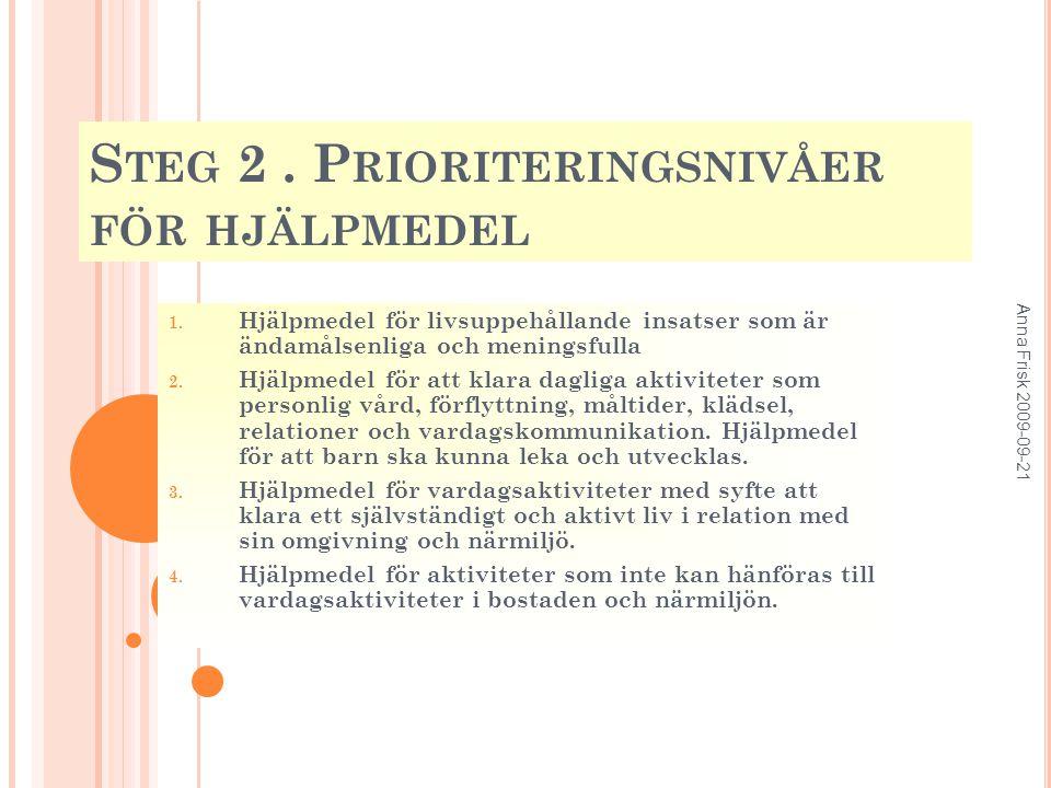 S TEG 2.P RIORITERINGSNIVÅER FÖR HJÄLPMEDEL 1.