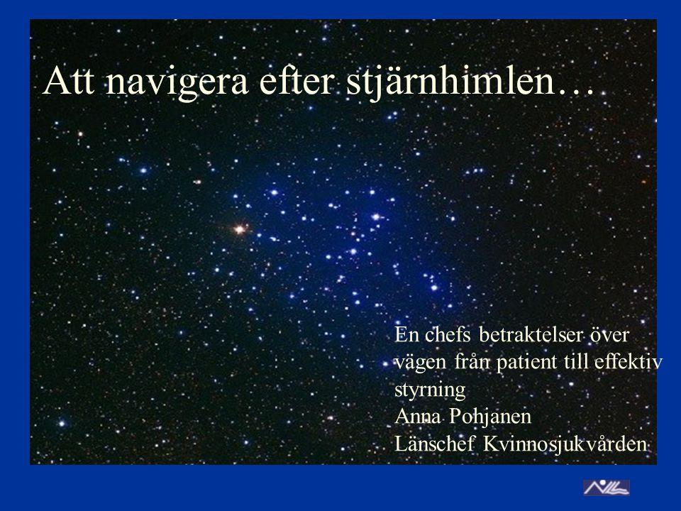 Att navigera efter stjärnhimlen… En chefs betraktelser över vägen från patient till effektiv styrning Anna Pohjanen Länschef Kvinnosjukvården