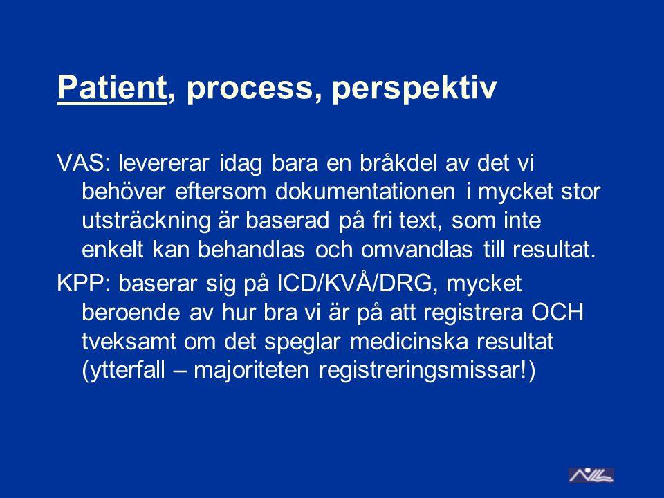 Patient, process, perspektiv VAS: levererar idag bara en bråkdel av det vi behöver eftersom dokumentationen i mycket stor utsträckning är baserad på fri text, som inte enkelt kan behandlas och omvandlas till resultat.