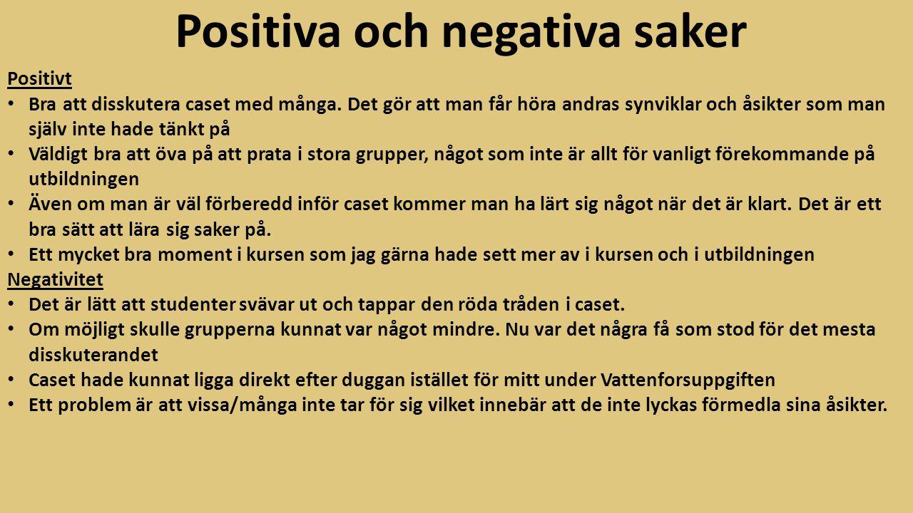 Positiva och negativa saker Positivt Bra att disskutera caset med många. Det gör att man får höra andras synviklar och åsikter som man själv inte hade