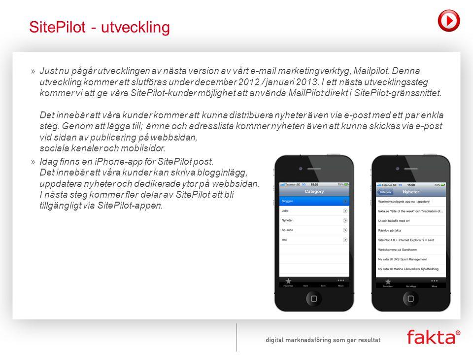 » Just nu pågår utvecklingen av nästa version av vårt e-mail marketingverktyg, Mailpilot. Denna utveckling kommer att slutföras under december 2012 /