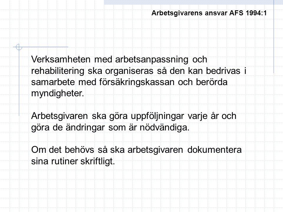 Arbetsgivarens ansvar AFS 1994:1 Verksamheten med arbetsanpassning och rehabilitering ska organiseras så den kan bedrivas i samarbete med försäkringskassan och berörda myndigheter.
