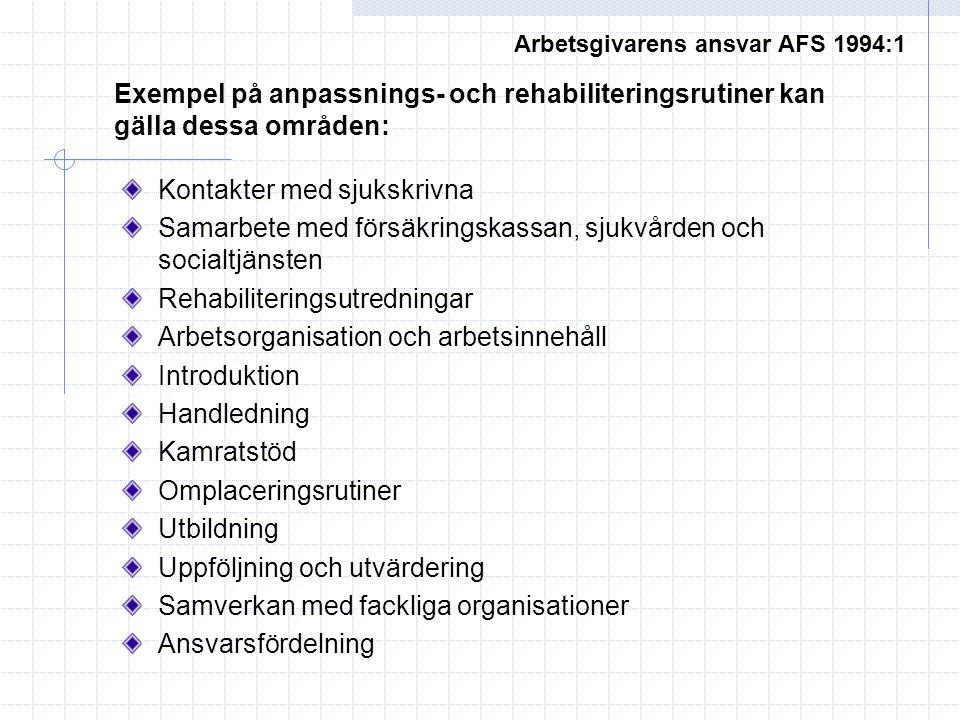 Arbetsgivarens ansvar AFS 1994:1 Exempel på anpassnings- och rehabiliteringsrutiner kan gälla dessa områden: Kontakter med sjukskrivna Samarbete med f