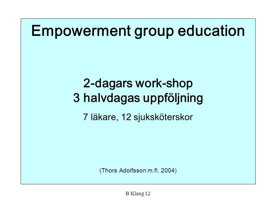 B Klang 12 Empowerment group education 2-dagars work-shop 3 halvdagas uppföljning 7 läkare, 12 sjuksköterskor (Thors Adolfsson m.fl. 2004)