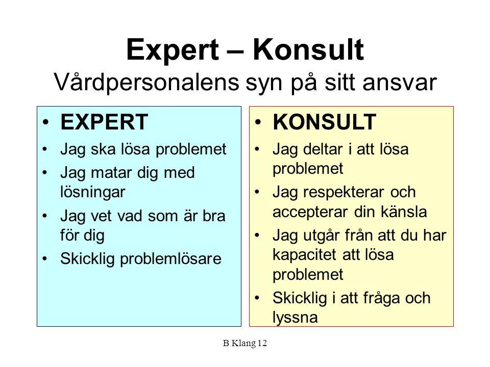 B Klang 12 Expert – Konsult Vårdpersonalens syn på sitt ansvar EXPERT Jag ska lösa problemet Jag matar dig med lösningar Jag vet vad som är bra för di