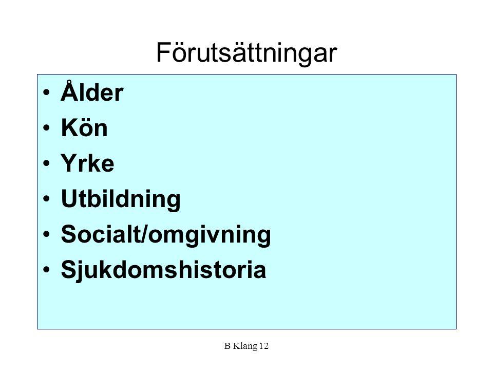 B Klang 12 Förutsättningar Ålder Kön Yrke Utbildning Socialt/omgivning Sjukdomshistoria