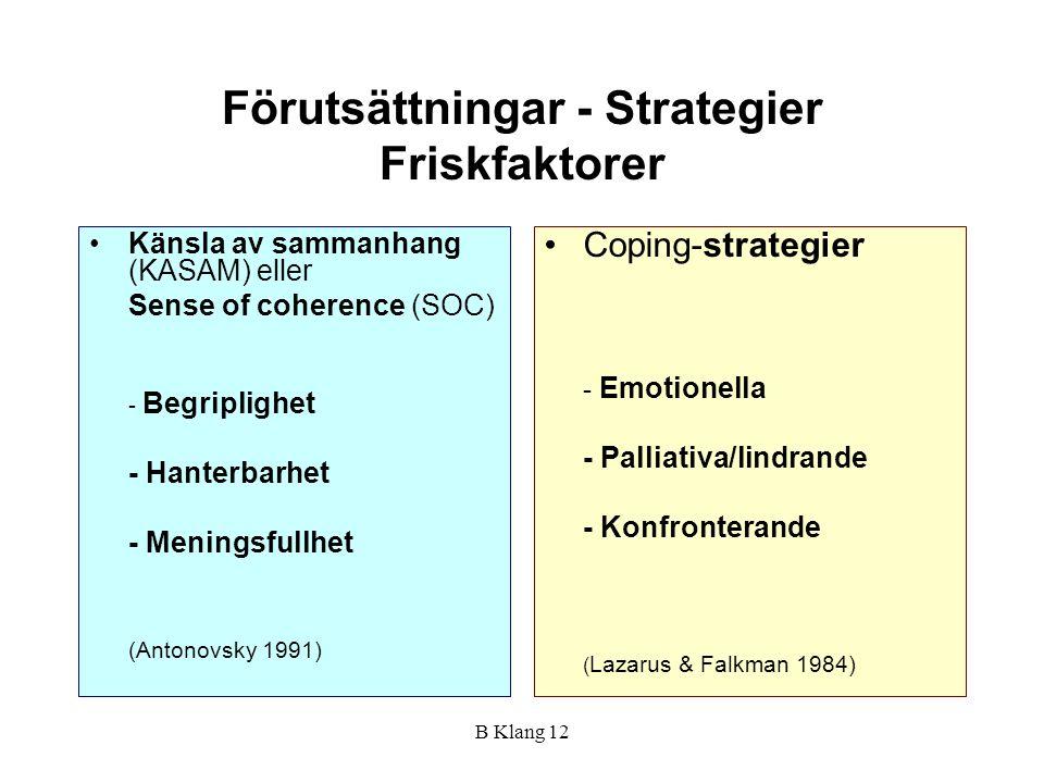 B Klang 12 Förutsättningar - Strategier Friskfaktorer Känsla av sammanhang (KASAM) eller Sense of coherence (SOC) - Begriplighet - Hanterbarhet - Meni