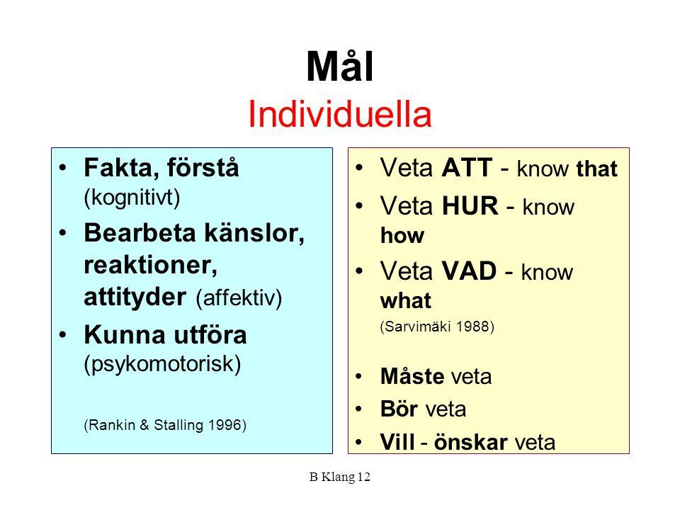 B Klang 12 Mål Individuella Fakta, förstå (kognitivt) Bearbeta känslor, reaktioner, attityder (affektiv) Kunna utföra (psykomotorisk) (Rankin & Stalli