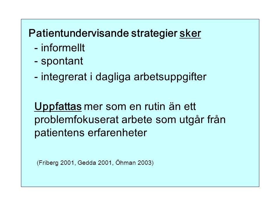 Patientundervisande strategier sker - informellt - spontant - integrerat i dagliga arbetsuppgifter Uppfattas mer som en rutin än ett problemfokuserat