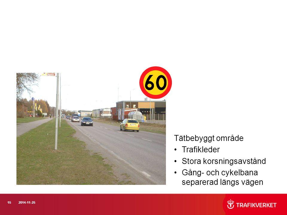 152014-11-25 Tätbebyggt område Trafikleder Stora korsningsavstånd Gång- och cykelbana separerad längs vägen