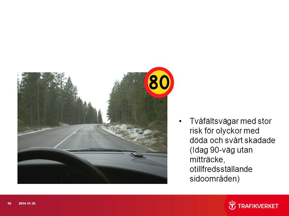 162014-11-25 Tvåfältsvägar med stor risk för olyckor med döda och svårt skadade (Idag 90-väg utan mitträcke, otillfredsställande sidoområden)