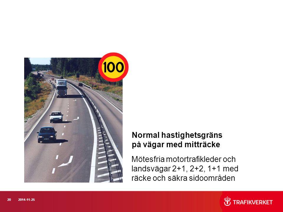 202014-11-25 Normal hastighetsgräns på vägar med mitträcke Mötesfria motortrafikleder och landsvägar 2+1, 2+2, 1+1 med räcke och säkra sidoområden