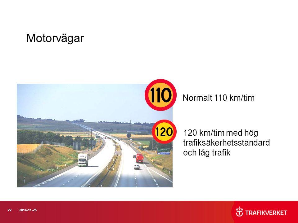 222014-11-25 Motorvägar Normalt 110 km/tim 120 km/tim med hög trafiksäkerhetsstandard och låg trafik