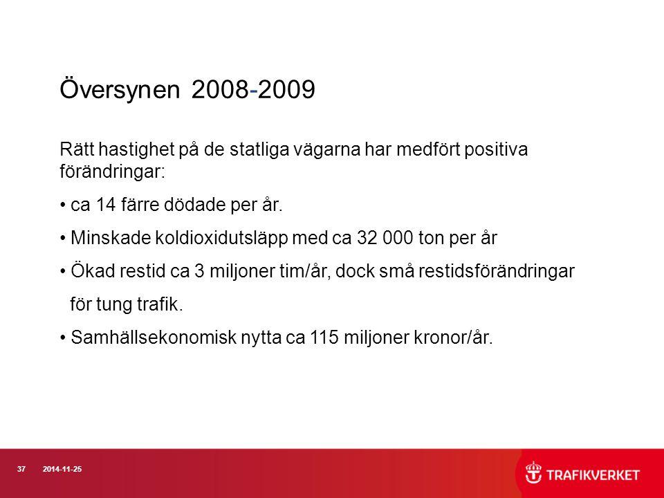 372014-11-25 Översynen 2008-2009 Rätt hastighet på de statliga vägarna har medfört positiva förändringar: ca 14 färre dödade per år. Minskade koldioxi