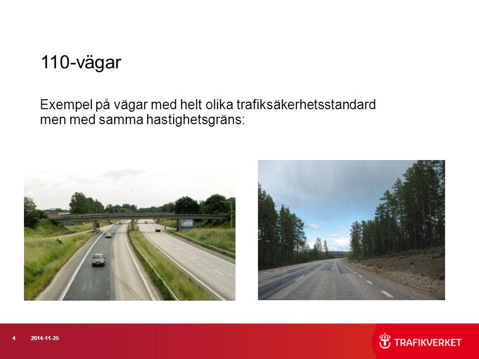 42014-11-25 110-vägar Exempel på vägar med helt olika trafiksäkerhetsstandard men med samma hastighetsgräns: