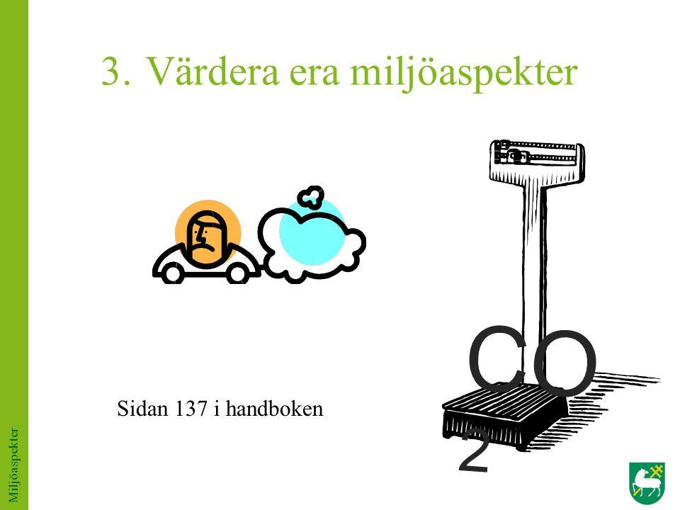 3. Värdera era miljöaspekter Sidan 137 i handboken Miljöaspekter CO 2