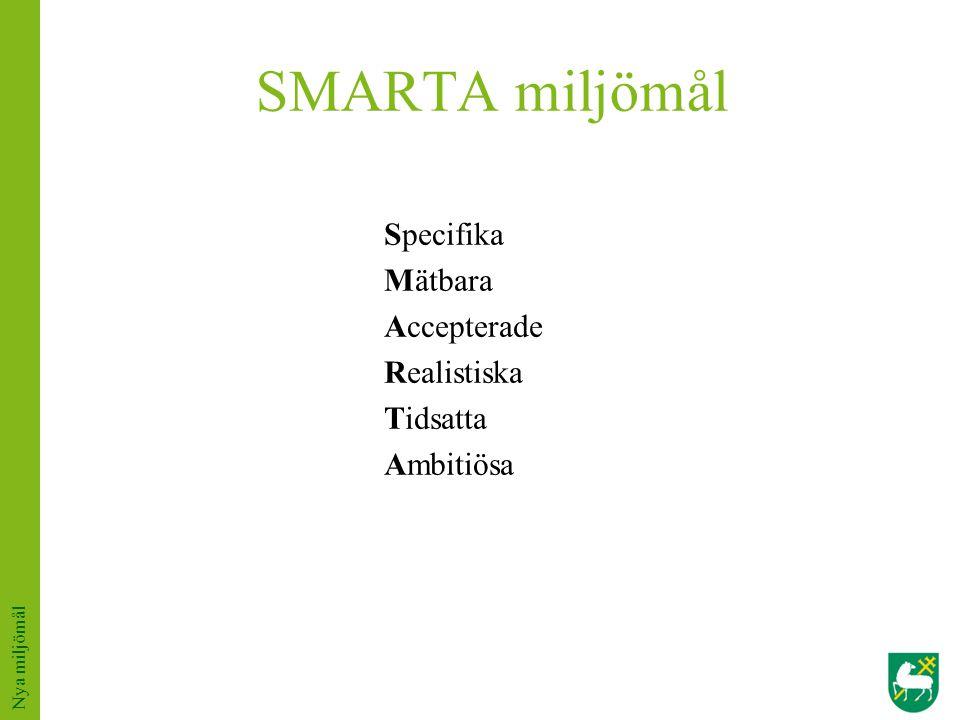 SMARTA miljömål Specifika Mätbara Accepterade Realistiska Tidsatta Ambitiösa Nya miljömål