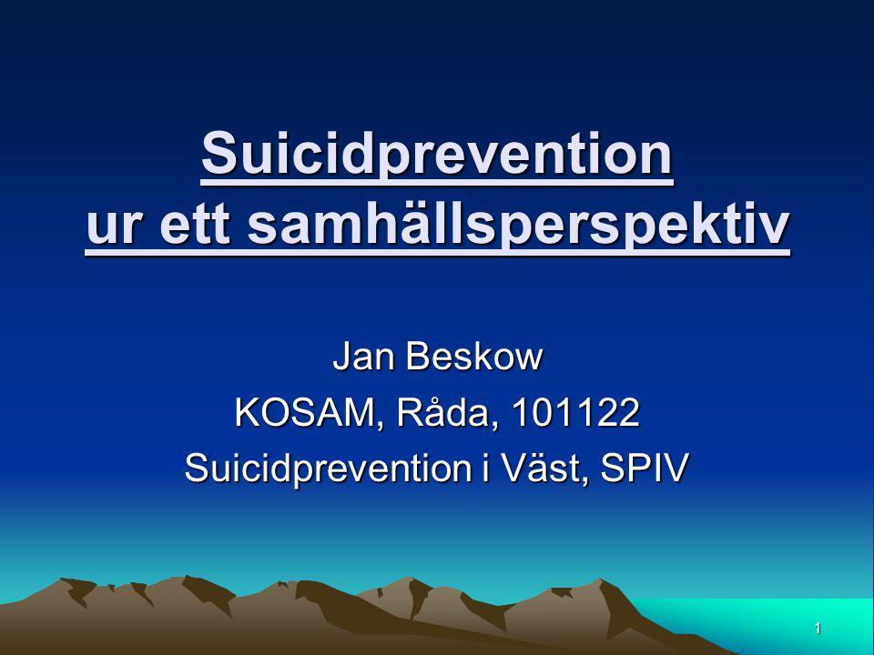 1 Suicidprevention ur ett samhällsperspektiv Jan Beskow KOSAM, Råda, 101122 Suicidprevention i Väst, SPIV