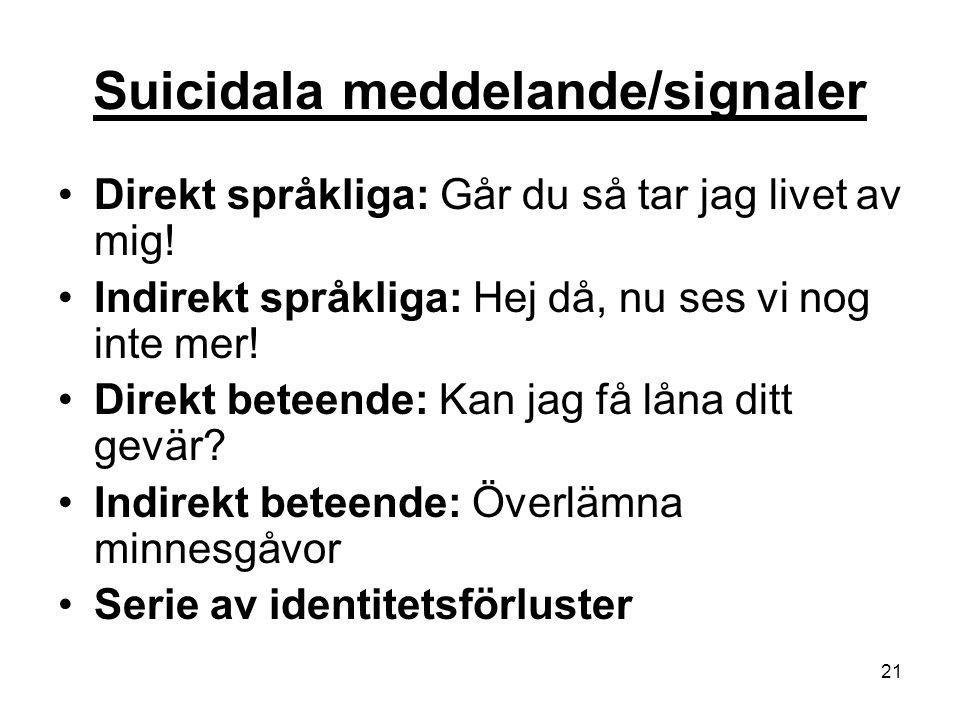 21 Suicidala meddelande/signaler Direkt språkliga: Går du så tar jag livet av mig! Indirekt språkliga: Hej då, nu ses vi nog inte mer! Direkt beteende