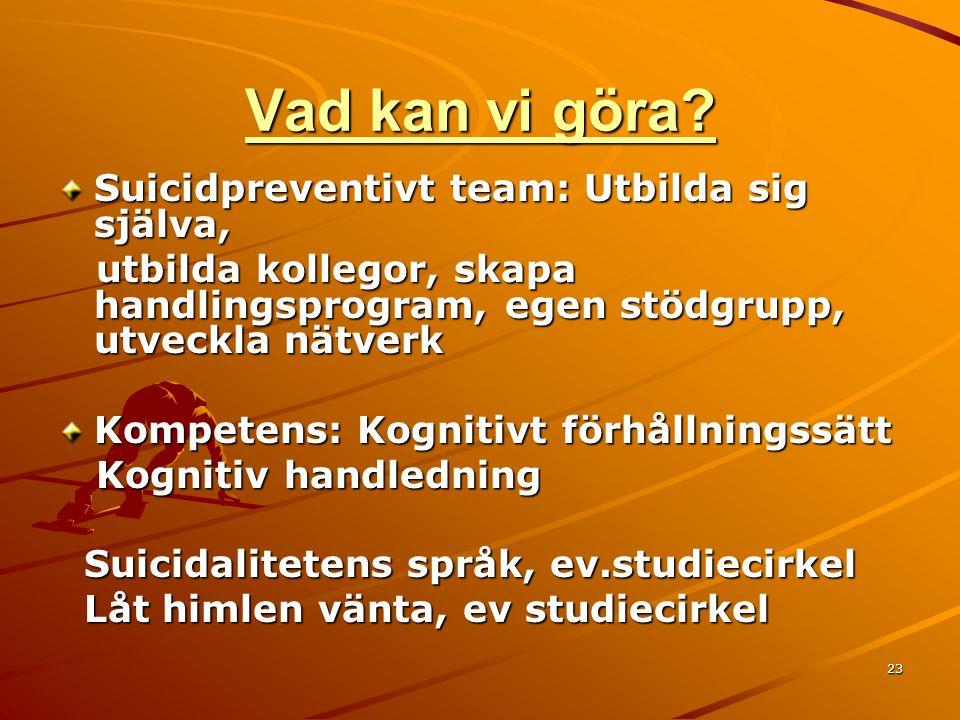 23 Vad kan vi göra? Suicidpreventivt team: Utbilda sig själva, utbilda kollegor, skapa handlingsprogram, egen stödgrupp, utveckla nätverk utbilda koll