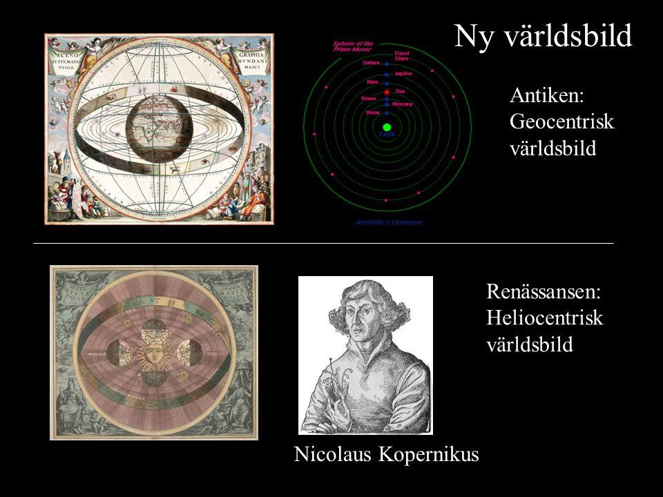 Antiken: Geocentrisk världsbild Renässansen: Heliocentrisk världsbild Nicolaus Kopernikus Ny världsbild