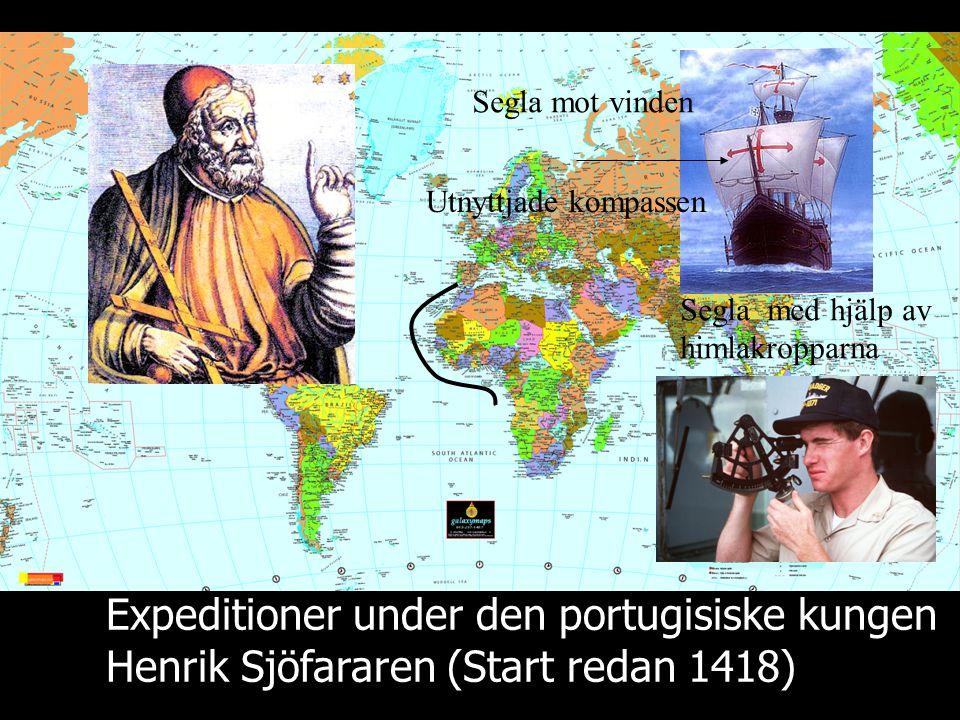 Expeditioner under den portugisiske kungen Henrik Sjöfararen (Start redan 1418) Segla mot vinden Utnyttjade kompassen Segla med hjälp av himlakropparn