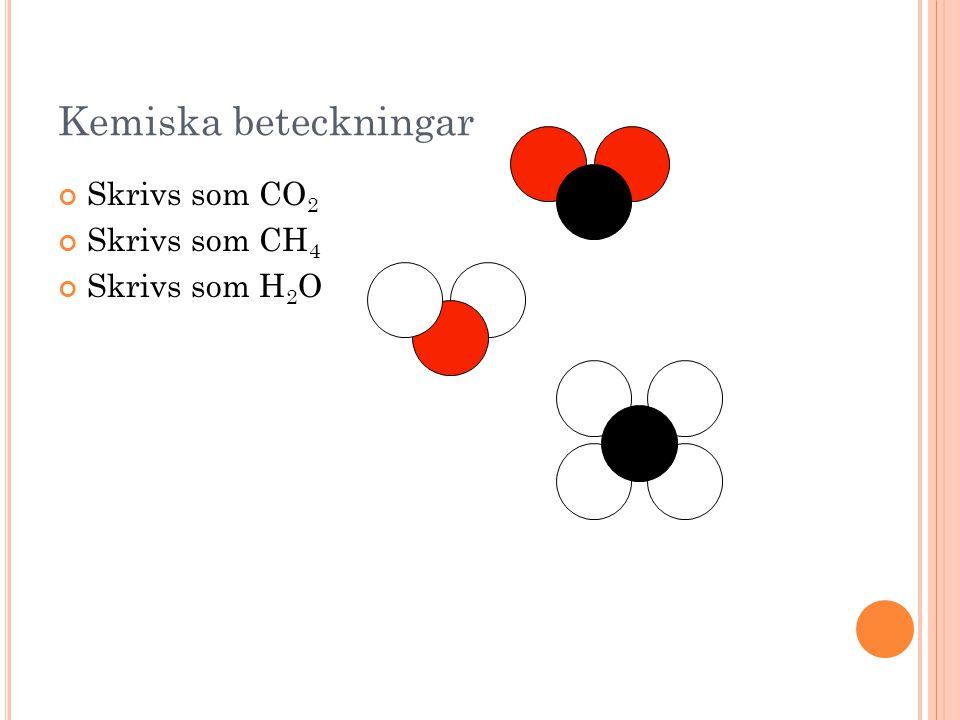 Kemiska beteckningar Skrivs som CO 2 Skrivs som CH 4 Skrivs som H 2 O