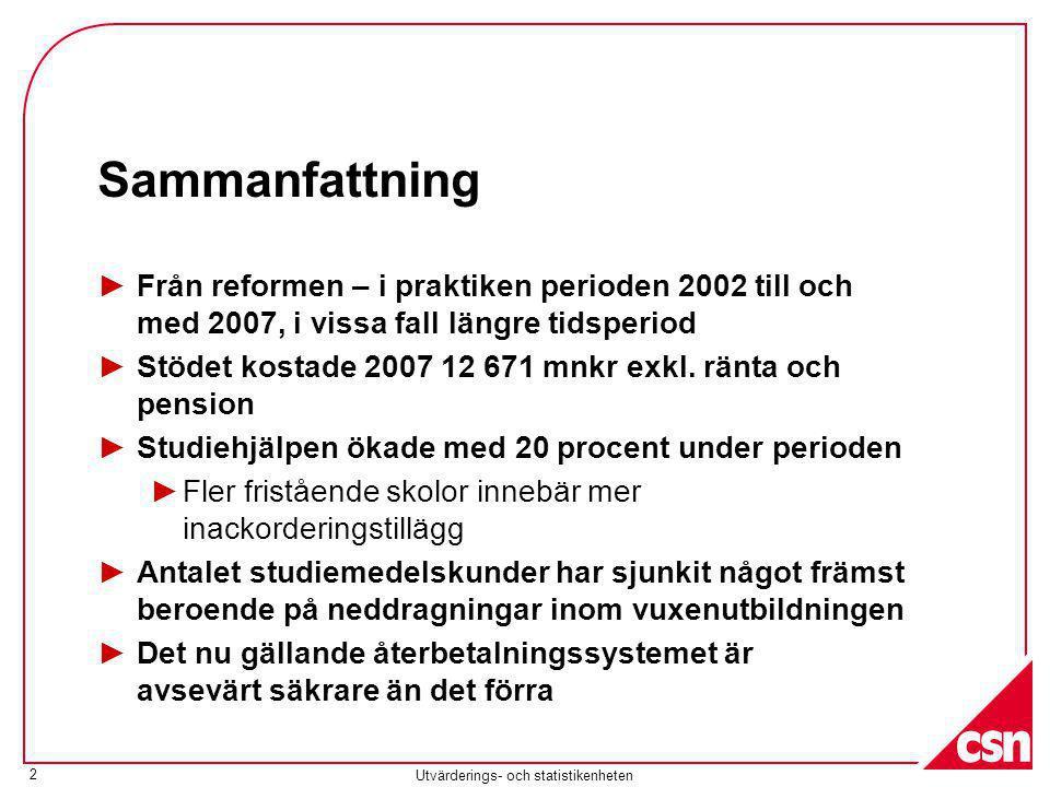 Utvärderings- och statistikenheten 2 Sammanfattning ►Från reformen – i praktiken perioden 2002 till och med 2007, i vissa fall längre tidsperiod ►Stödet kostade 2007 12 671 mnkr exkl.