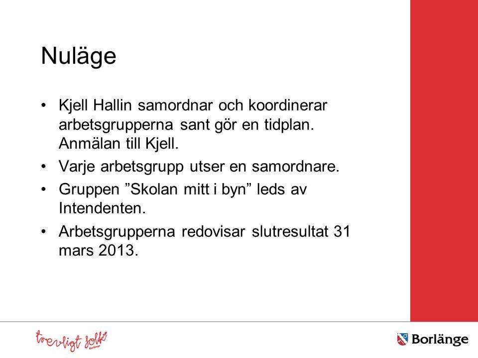 Nuläge Kjell Hallin samordnar och koordinerar arbetsgrupperna sant gör en tidplan. Anmälan till Kjell. Varje arbetsgrupp utser en samordnare. Gruppen