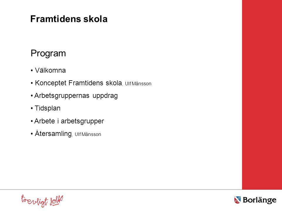 Program Välkomna Konceptet Framtidens skola, Ulf Månsson Arbetsgruppernas uppdrag Tidsplan Arbete i arbetsgrupper Återsamling, Ulf Månsson Framtidens