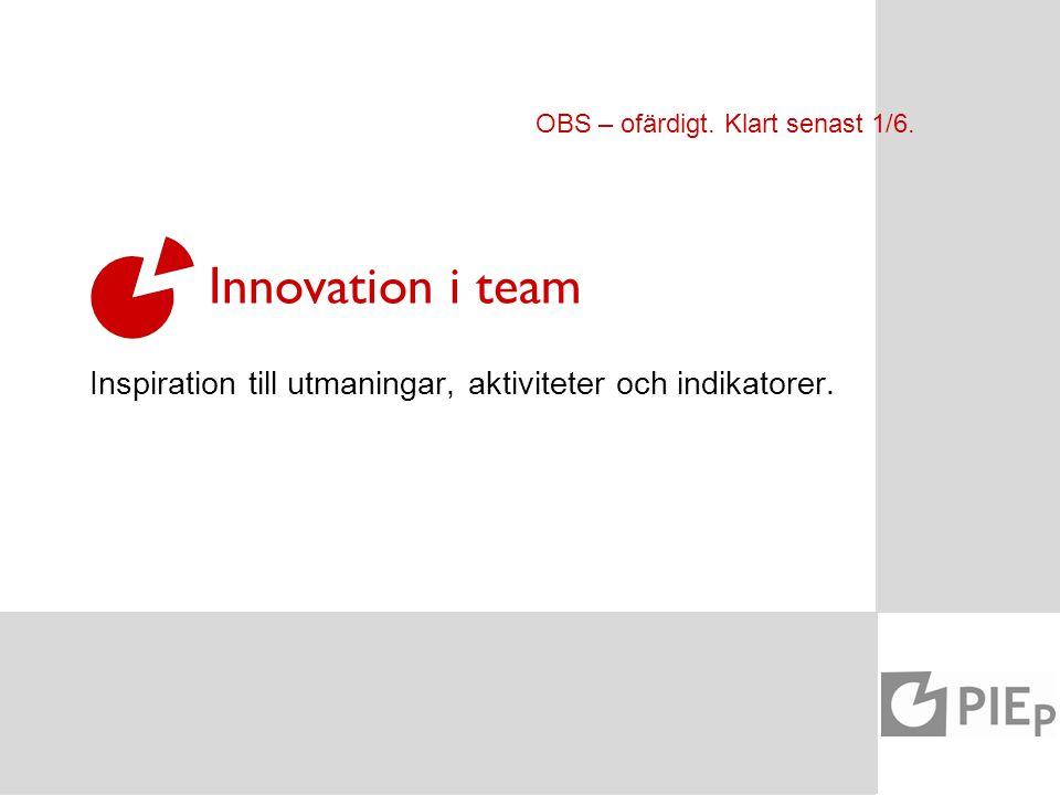 AKTIVITETER INDIKATORER Innovation i team Inspiration till utmaningar, aktiviteter och indikatorer. OBS – ofärdigt. Klart senast 1/6.